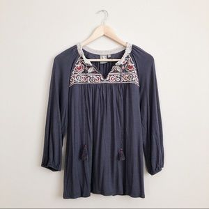 Anthro One September Embroidered Nightingale Top